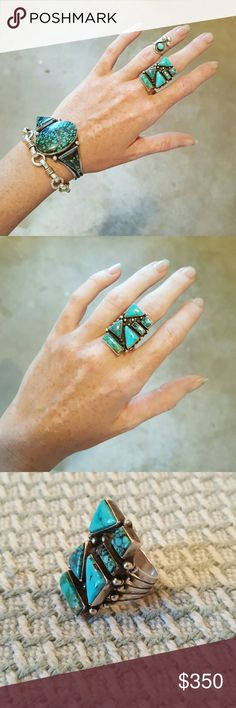 """Genuine Turquoise and Sterling Silver Ring I am selling an amazing and unique Sterling Silver and GENUINE turquoise ring.  It was handmade by a native american artist stamped """"Sterling"""".  About an 1"""" long and breathtaking!!!  I beleive this is a size 9, however the band is plain so it can easily be sized!!!  Don't hesitate, this is ONE OF A KIND! Handmade Jewelry Rings"""
