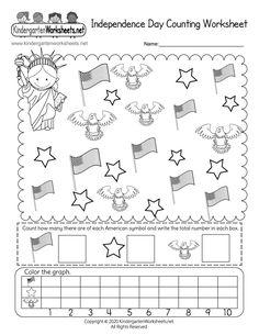 Kindergarten Independence Day Counting Worksheet