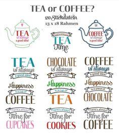 Stickdatei ♥ TEA or COFFEE ♥ 20 Dateien 13x18 von Kitsch-deluxe auf DaWanda.com