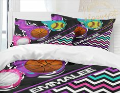 Girls Sports Bedding, Personalized with Name, Basketball, Volleyball, Softball, Duvet Cover, King, Queen/full, Twin xl, College, Dorm, #411 by EloquentInnovations on Etsy