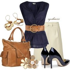 "Work Outfit Styles: ""Navy and Tan"" by cynthia335 on Polyvore"
