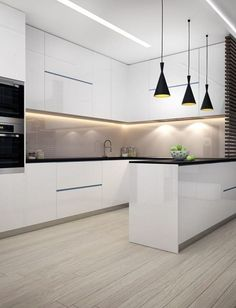Elegant White Kitchen Design Ideas for Modern Home White kitchen is never a wrong idea. The elegance of white kitchens can always provide . Elegant White Kitchen Design Ideas for Modern Home Modern Kitchen Interiors, Luxury Kitchen Design, Modern Farmhouse Kitchens, Luxury Kitchens, Home Design, Design Ideas, Kitchen Modern, Minimalist Kitchen, White Interiors