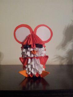 ORIGAMI 3D. Ratón rojo, piezas de 6x4.