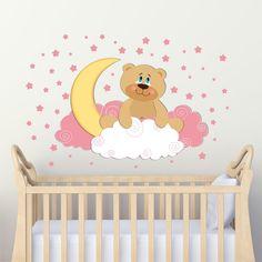 Αυτοκόλλητο τοίχου αρκουδάκι με φεγγαράκι και ροζ αστεράκια | Livewall.gr Tweety, Princess Peach, Fictional Characters, Fantasy Characters