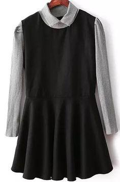 Black Long Sleeve Pleated Flare Dress - abaday.com