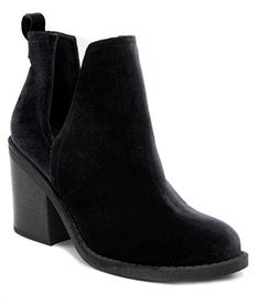 2296b165bf42 London Fog Womens Velvet Ankle Booties with V cutout Black Pull tab for  easy on off. slip on.