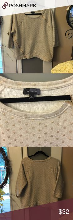 The Limited Beige & Gold Polka Dot Top Like new condition, wore once. Beige with  gold polka dots and gold zipper detail. Cotton and polyester material. Kind of like a sweat shirt feel. Women's, too cute The Limited Tops Sweatshirts & Hoodies