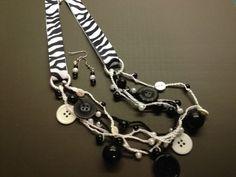 Zebra Ribbon & Button Necklace Set by BornAgainButtons on Etsy, $20.00