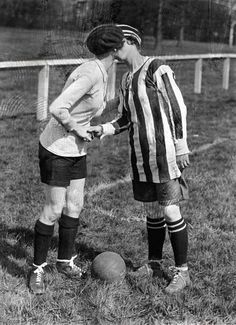 Women's football. The team captains greet each other with a kiss, mmmmm-hhmmmmmm : ) .... England, Preston, 1920.
