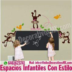 http://vinilosdecorativosmx.com/vinilos-infantiles-pizarra Vinilos Infantiles Pizarra con Changuitos