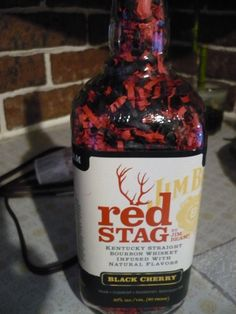 Jim Beam Red Stag Black cherry liquor Bottle Lamp with