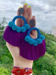 Jewelry Design Earrings, Diy Earrings, Fashion Earrings, Earrings Handmade, Crochet Earrings, Quilling Earrings, Jewellery, Long Tassel Earrings, Tassel Jewelry