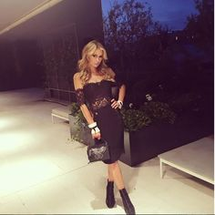 Paris Hilton wearing the black DD Bag during the sunset cocktail party at Ceresio7 after Dsquared2 Men's Show Spring Summer 2017. #parishilton #ddbag #menswear #ss17 #milan #mfw #dsquared2