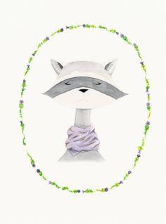 raccoon watercolor PRINT    8  x 10   nursery by sweetmagoo, $20.00
