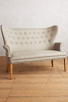 Linen Wingback Bench - anthropologie.com