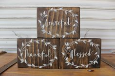 Fall Decor Wood Blocks, Grateful Thankful Blessed, Stained Sign, Thanksgiving Shelf Sitter, Primitive Rustic Sign, Word Block, Shabby Chic by TinSheepShop on Etsy