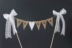 Wedding cake topper  Mr & Mrs burlap / hessian bunting by SoLuvli