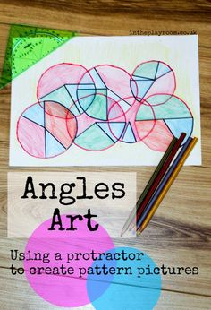 Angles art with a protractor and colour by angles colour scheme - fun way to learn maths