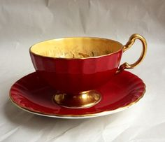 AYNSLEY D JONES ORCHARD FRUIT DEEP RED CUP & SAUCER SIGNED TEA CUP  this is so pretty.
