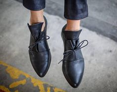 ¡Nuevo! Zapatos, zapatos negros, zapatos hechos a mano, invierno, cuero negro pisos, pisos de invierno, Oxford, zapatos de gala, zapatos con cuero planos, Cami