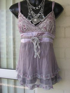 Vintage Stunning Lilac Purple Silk Chiffon Lace Top by GlamourZoya
