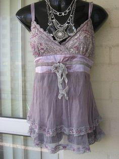 Vintage Stunning Lilac Purple Silk Chiffon Lace  by GlamourZoya, $59.00