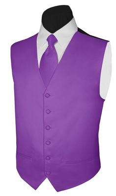 Tuxedo Vest PLUM SATIN Vest and NECKTIE Polyester Satin