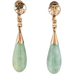Pre-owned Jade Drop Earrings ($225) ❤ liked on Polyvore featuring jewelry, earrings, gold, screw back earrings, preowned jewelry, 14k jewelry, 14 karat gold earrings and jade earrings