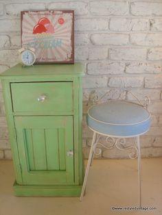 Restyled Vintage: 'Pistachio' - Bedside Cabinet