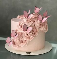 Butterfly Birthday Cakes, Birthday Cake With Flowers, Beautiful Birthday Cakes, Butterfly Cakes, Birthday Cake Girls, Flower Cakes, Cake With Butterflies, Birthday Cake Designs, Elegant Birthday Cakes