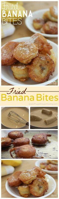Sweet Fried Banana Bites aka Banana Pancakes - the sweet taste of pancake mix, bananas and powdered sugar - absolutely delicious!