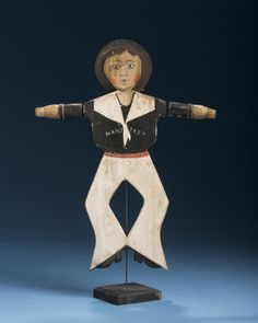 """CARVED AND PAINTED WOOD AND TIN """"NANTUCKET"""" SAILOR WHIRLIGIG. 
