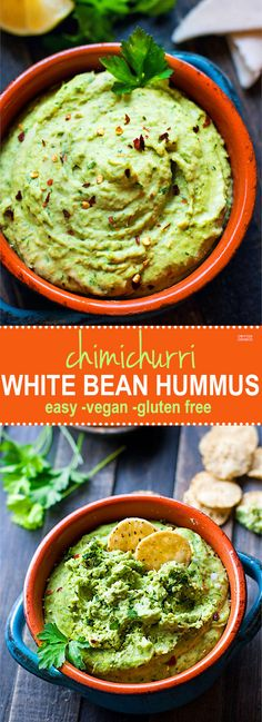 Easy Chimichurri White Bean Hummus. A healthy gluten free white bean hummus that is bursting with flavor and color! So simple to make, vegan friendly, and a total crowd pleaser appetizer or snack! PS It has some major health perks too.
