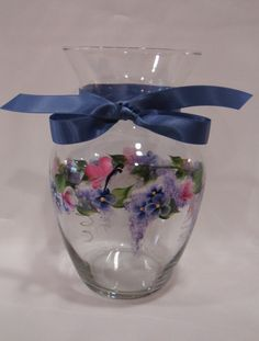 Hand Painted Glass Vase with Roses Violets Butterflies