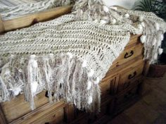 Puffy Pom Poms Ivory Fringe Throw Blanket. Home by CricketsHome