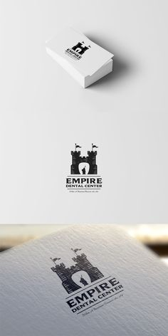 Black and white logo design by Sava Stoic for Empire Dental Center. A tooth is created in the negative space of a medieval castle. #dentistry #branding #minimal