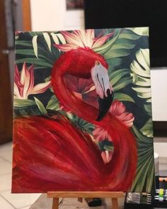 art and drawings Bird Painting Acrylic, Flamingo Painting, Flamingo Art, Acrylic Art, Watercolor Art, Pink Flamingos, Small Canvas Art, Animal Paintings, Art Oil
