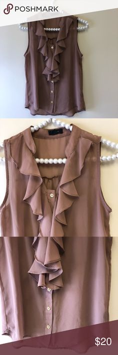 Francesca's Collections Brown Ruffled Shirt Excellent condition with little to no wear. Same day/next day shipping. NO TRADES PLEASE Francesca's Collections Tops Blouses