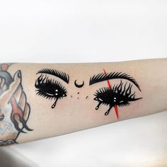 Creepy Tattoos, Badass Tattoos, Body Art Tattoos, Small Tattoos, Cool Tattoos, Chest Piece Tattoos, Tatoos, Witch Eyes, Geniale Tattoos