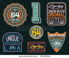 College vector label and print set.