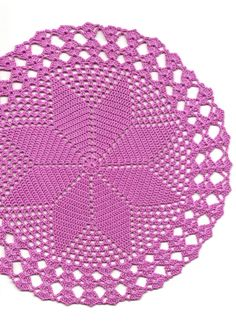 Hand crochet beautiful doily, made from pink crochet cotton. Diameter about 10 (26cm).  Will be adorable decoration at your home, will look great on