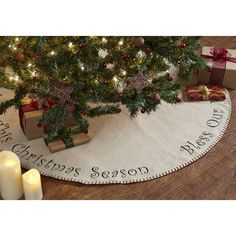 "Put the finishing touches on your Christmas tree with our Tidings Tree Skirt 48""! https://www.primitivestarquiltshop.com/products/tidings-tree-skirt-48 #MerryChristmas"