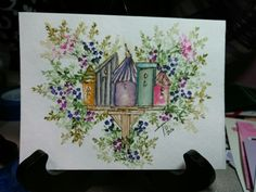 Art Impressions Wonderful Watercolor. Handmade water color card with flowers, foliage and bird houses.