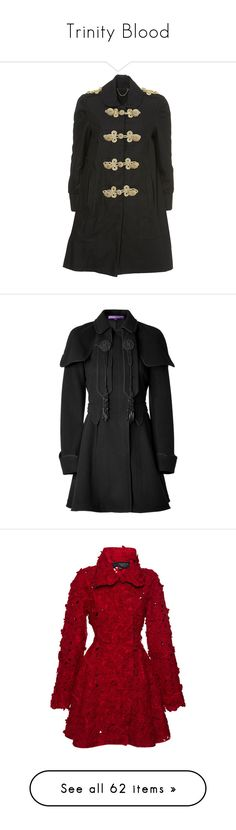 """Trinity Blood"" by roseunspindle ❤ liked on Polyvore featuring outerwear, coats, jackets, coats & jackets, tops, topshop coats, black, cashmere coat, draped wool coat and wool coat"