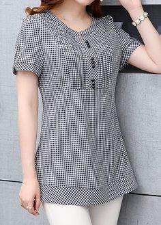 Button Embellished Plaid Print Short Sleeve Blouse on sale o Dress Neck Designs, Kurti Neck Designs, Stylish Dress Designs, Stylish Dresses, Blouse Designs, Sewing Clothes Women, Indian Designer Wear, Mode Style, Fashion Outfits