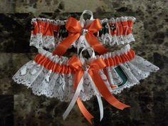 Wedding Garters U of Miami Hurricanes fabric garter by banos0126, $20.99