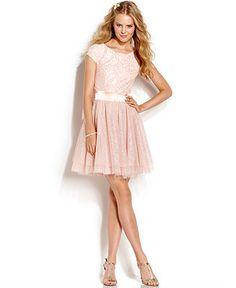 Trixxi Juniors' Lace Glittered Tulle Dress - Juniors Prom Dresses - Macy's