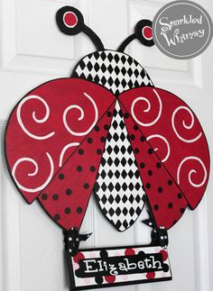 Personalized Ladybug Door Hanger Wall Decor by SparkledWhimsy