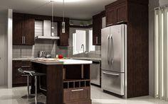 Armoires de cuisine Glass Backsplash Kitchen, Kitchen Cabinets, Kitchen Appliances, Small Space Kitchen, Small Spaces, Decor Interior Design, Interior Decorating, Cuisines Design, French Door Refrigerator