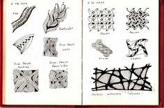"""in diesem Übungsbuch (A6) teste ich Zentangle®-Muster (Tangle-Pattern) nach Beschreibungen aus dem Internet und versuche auch Eigenkreationen --> wie auf Seite 023 vom 14.01. das Muster, in dem meine Signatur zu finden ist und auf Seite  027 vom 15.07. """"Persia-Susa"""" Aber ich nutze es auch für Ski..."""